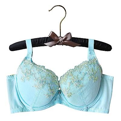 EASY SHOP-花意紛飛 大罩杯C-E罩成套內衣(清新藍)