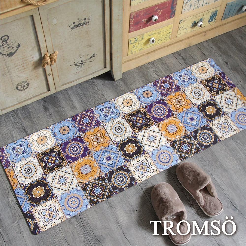 TROMSO 廚房防油皮革地墊-K317藍調花磚