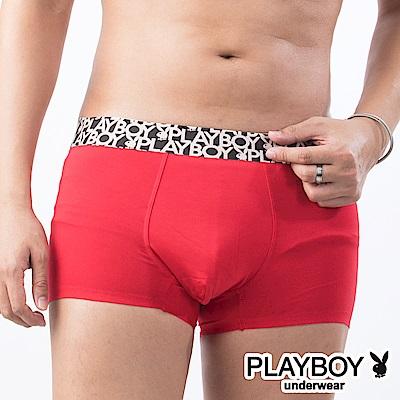 PLAYBOY LOGO織帶裸感無痕合身四角褲平口褲-單件-紅
