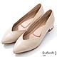 DIANA 3cm羊皮線條珍珠電鍍飾釦尖頭低跟鞋-優雅女伶-米 product thumbnail 1