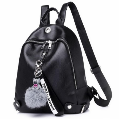I.Dear-韓系可愛小熊毛球吊飾精緻軟皮革後背包(BG106黑色)