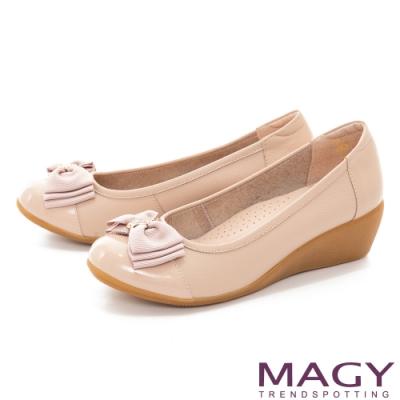 MAGY 真皮蝴蝶結鑽飾楔型 女 中跟鞋 裸色