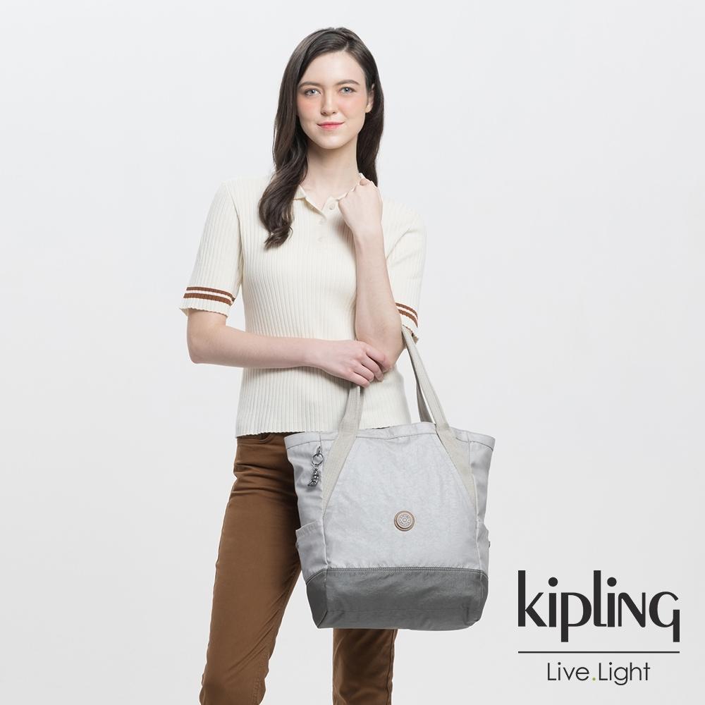 Kipling 低調皮革金屬亮銀灰大容量托特包-ALMATO