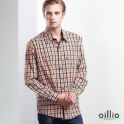 歐洲貴族 oillio 長袖襯衫 隨性自在 簡約小格紋 橘色