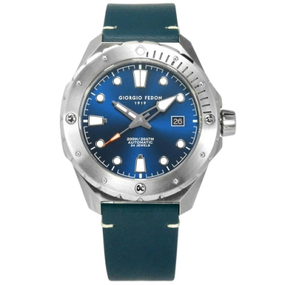 GIORGIO FEDON 1919 海行者 自動上鍊 防水 真皮機械錶-藍色/45mm