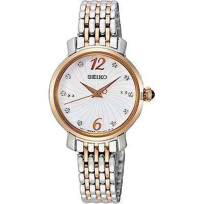 SEIKO 精工珍珠貝雙色施華洛世奇水晶女錶-玫瑰金色28mmSRZ524P18