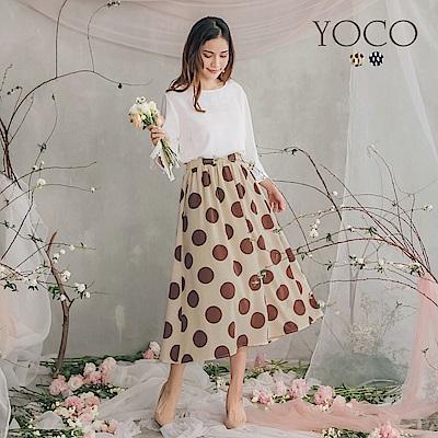 東京著衣-YOCO  公主七分袖連身點點傘狀洋裝-S.M.L(共兩色)