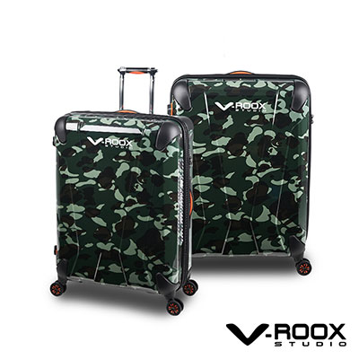 V-ROOX AXIS  28吋 綠迷彩 原創設計 防爆拉鏈可擴充行李箱