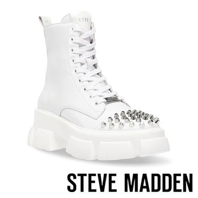STEVE MADDEN-TEMPERATE 鉚釘厚底綁帶中筒靴-白色