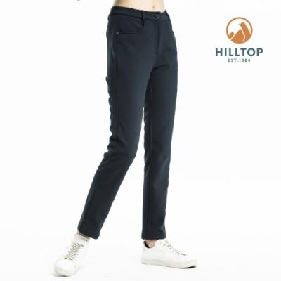 【hilltop山頂鳥】女款超潑水保暖彈性長褲H31FL8黑
