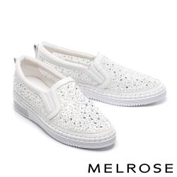 休閒鞋 MELROSE 氣質典雅水鑽刺繡設計厚底休閒鞋-白