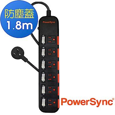 群加 PowerSync 六開六插滑蓋防塵延長線/1.8m(TPS366DN0018)