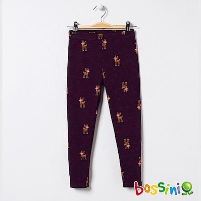 bossini女童-印花刷毛貼身褲02酒紅