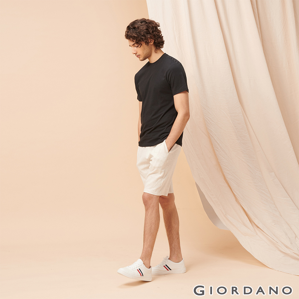 GIORDANO 男裝素色休閒針織短褲-01 花紗月岩淺灰