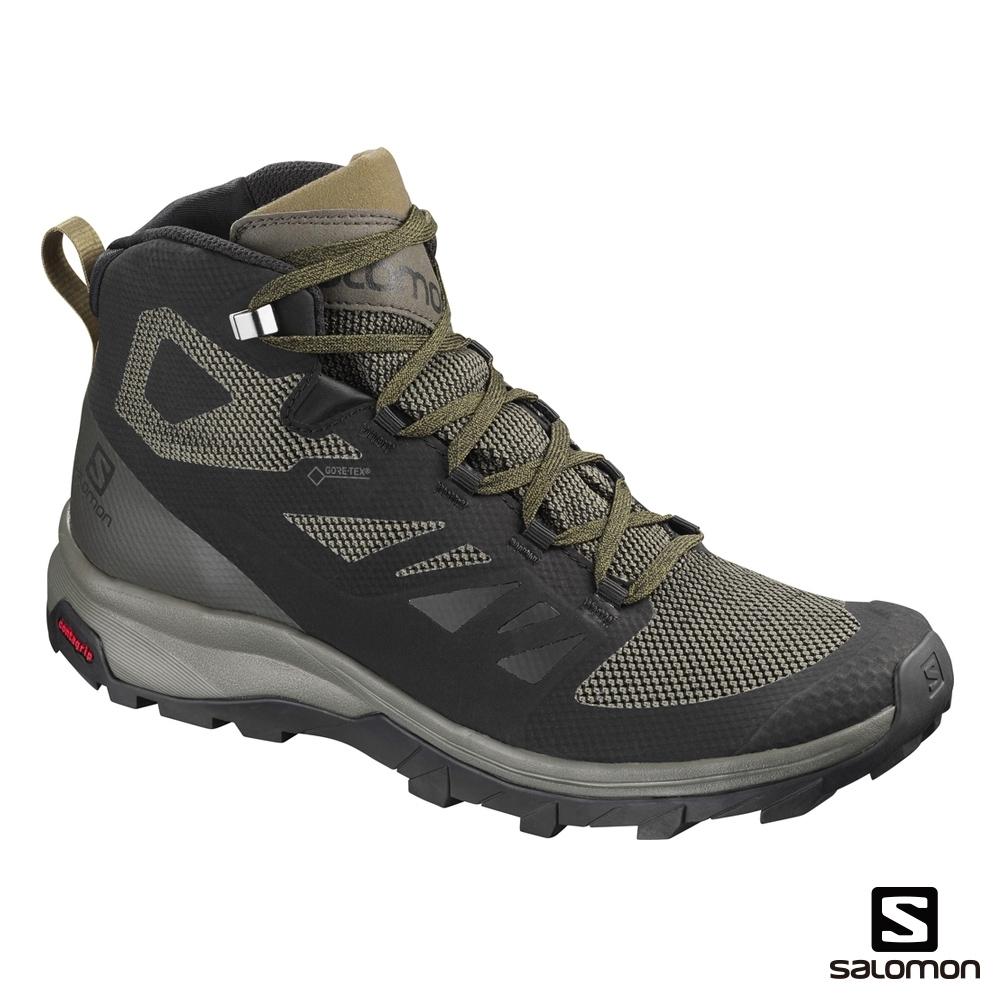 Salomon 男 GORETEX 中筒登山鞋 OUTline 橄欖綠