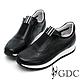 GDC-經典基本素色簍空沖孔透氣舒適厚底運動休閒鞋-黑色 product thumbnail 1