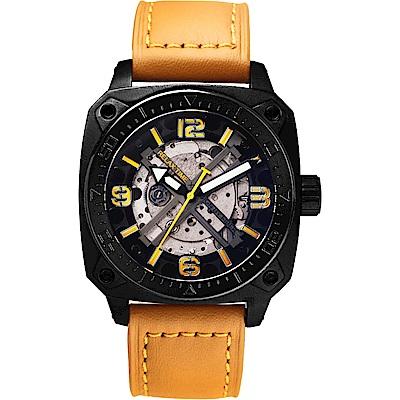 Relax Time RT39 X 鏤空機械限量腕錶-黑x卡其錶帶/45mm