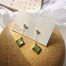 梨花HaNA 無耳洞/耳針款韓國祖母翠綠晶石一字耳環