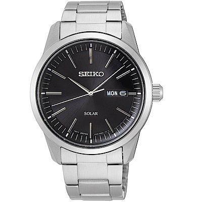 SEIKO精工經典俐落太陽能手錶(SNE527P1)-黑