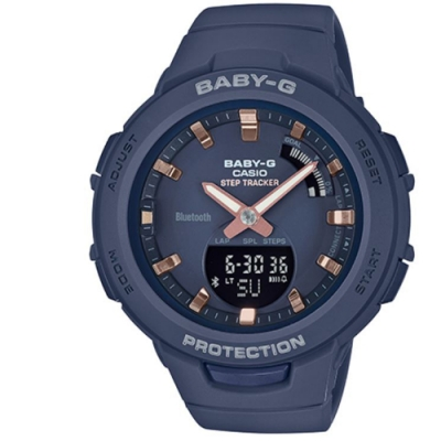 BABY-G閃耀熱血女孩運動計步藍芽錶(BSA-B100-2A)/藍49.6 mm