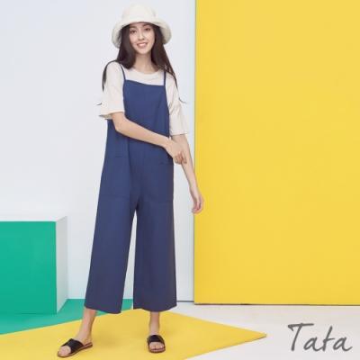 素色棉麻吊帶寬褲 共二色 TATA