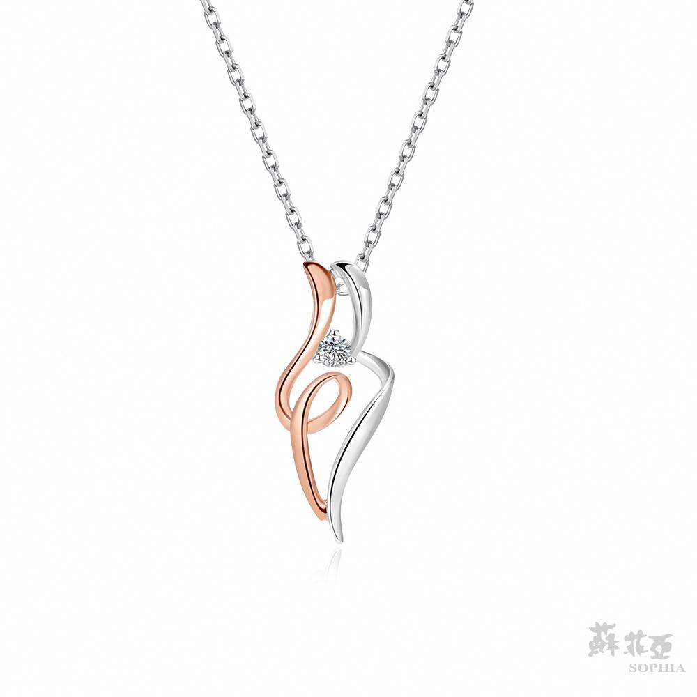 SOPHIA 蘇菲亞珠寶 - SWEET HEART 系列雙色項鍊 14K雙色(玫瑰金+白金) 鑽石項鍊