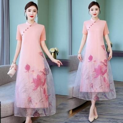 中式典雅粉色立領水墨暈荷旗袍S-3XL-REKO