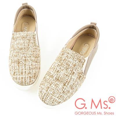 G.Ms. MIT系列-牛皮拚接格紋毛呢懶人休閒鞋-駝色