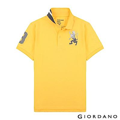 GIORDANO 男裝勝利獅王漸層刺繡彈力萊卡POLO衫-36 水仙花黃