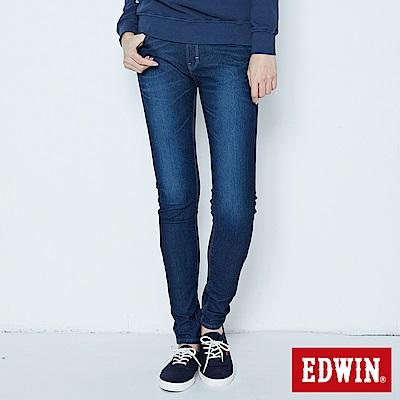 EDWIN AB褲 迦績JERSEYS仿紅布邊繡花牛仔褲-女-原藍磨