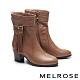 短靴 MELROSE 經典時髦流蘇造型牛皮粗高跟短靴-棕 product thumbnail 1