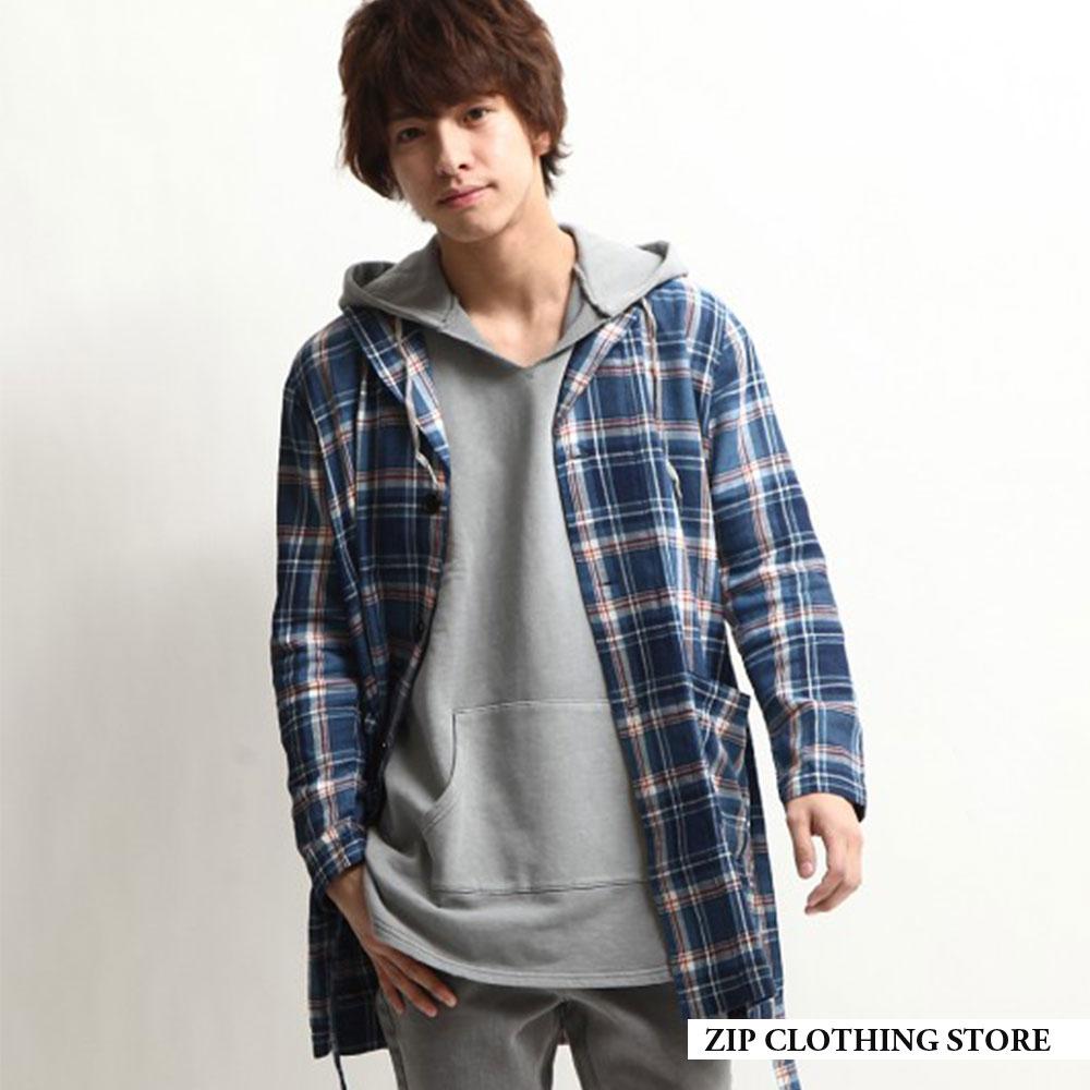 圍巾領睡袍大衣(2色) ZIP日本男裝