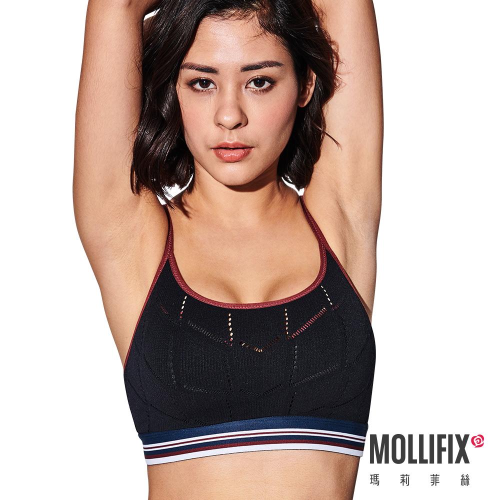 Mollifix 瑪莉菲絲 A++梯背三色織帶舒心BRA (黑+紅)