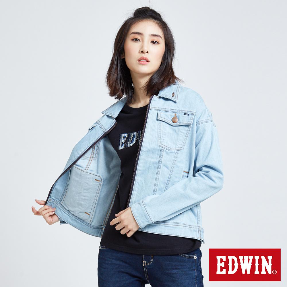 EDWIN 夢想基本刷色 牛仔外套-女-漂淺藍