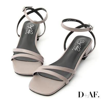 D+AF 神秘色彩.一字斜帶方頭低跟涼鞋*藕灰
