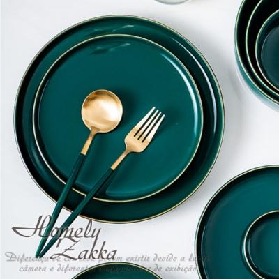 【Homely Zakka】北歐輕奢風祖母綠金邊陶瓷餐具_小圓平盤