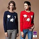 ILEY伊蕾 蕾絲貼花山羊絨混紡毛衣(藍/紅)