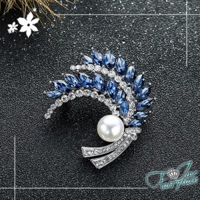 iSFairytale伊飾童話 幻想之羽 珍珠水晶別針胸針 銀白藍