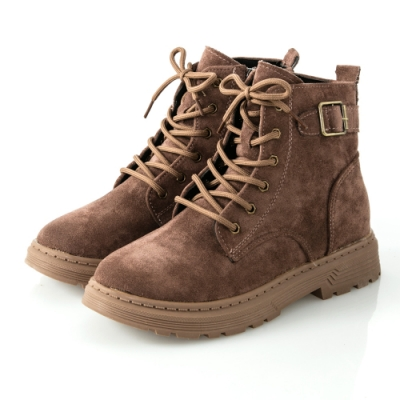 JMS-街頭魅力後釦環綁帶拉鍊短靴-棕色