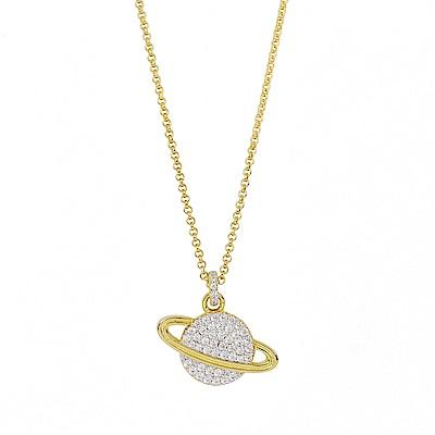 apm MONACO法國精品珠寶 閃耀金色星球鑲鋯可調整長項鍊