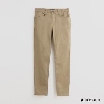 Hang Ten - 男裝 -純色休閒窄管褲 - 卡其