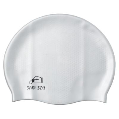 聖手牌 泳帽 防滑透氣灰色矽膠泳帽