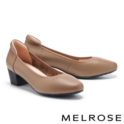 高跟鞋 MELROSE 極簡時尚全真皮純色高跟鞋-棕