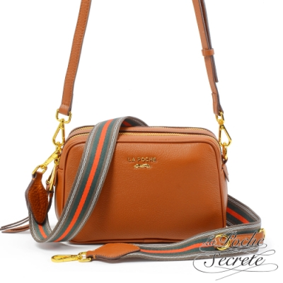 La Poche Secrete側背包 簡約真皮雙拉鍊織帶2WAY側斜背相機包-焦糖咖