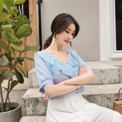 甜美氣質荷葉邊雪紡衫S-XL(共兩色)-白色戀人
