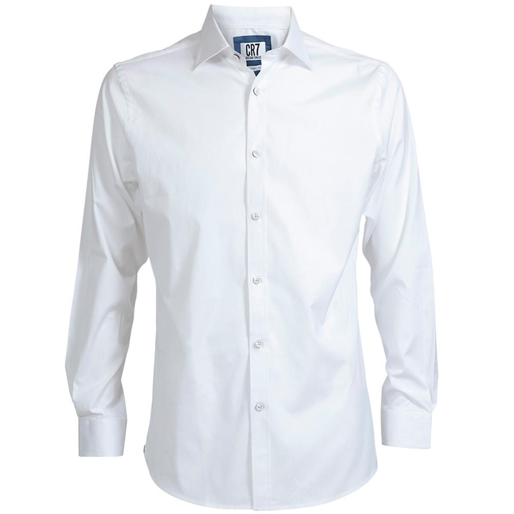 CR7-長尖領經典素面襯衫-白 (8600-7300-10)