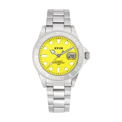 HYUN炫 白鋼男士設計精品錶-白鋼黃底