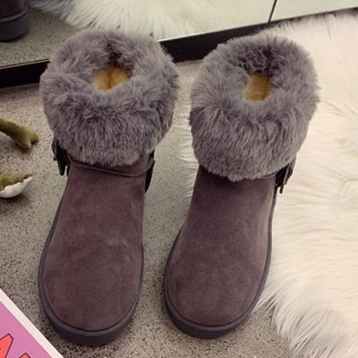 KEITH-WILL時尚鞋館-好評加碼磨砂絨毛保暖雪靴-灰色
