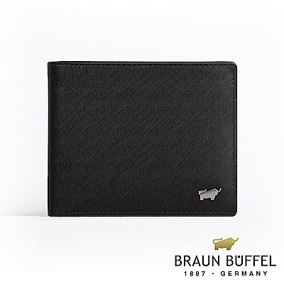 BRAUN BUFFEL -HOMME-M系列8卡中翻窗格零錢皮夾 - 黯黑