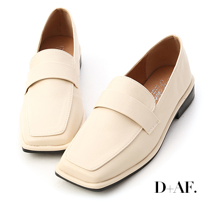 D+AF 復古年代.雙層設計方頭樂福鞋*米白